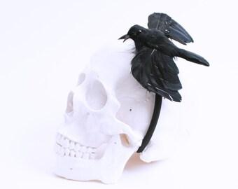 Halloween, Gothic, Black Crow, Bird Headband, Crow Headband, Halloween Headband, Halloween Headpiece, Raven Headband, Edgar Allan Poe, Crow
