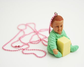 Baby Boy Necklace Toy Blocks Pendant Pink Ball Chain Yellow and Green Necklace Little Boy Baby Shower Accessories