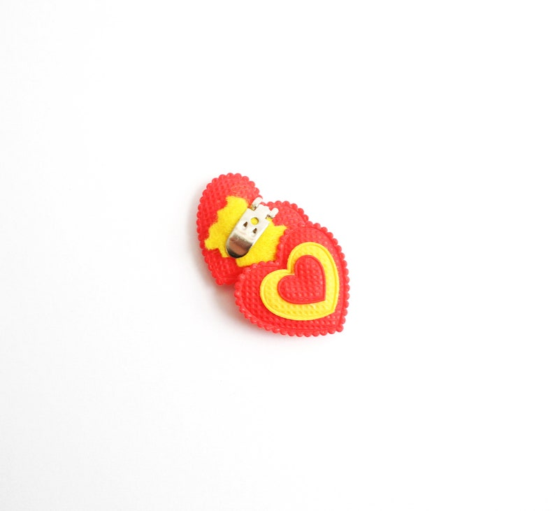 Hearts Outfit Plush Hearts Yellow and Red Red Heart Shoe Clips Valentines Fashion Heart Shoe Clips Shoe Accessories Red Shoe Clips
