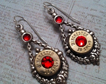 2nd Shot Jewels, Bullet/Shotgun Jewelry, Vintage Style Floral Wreath Earrings, 38 spl,  Made from spent rounds of Ammo