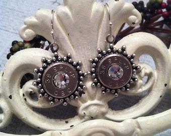 2nd Shot Jewels, Bullet/Shotgun Jewelry, Sunburst Drop Earrings, 38 spl.,  Made from spent rounds of Ammo