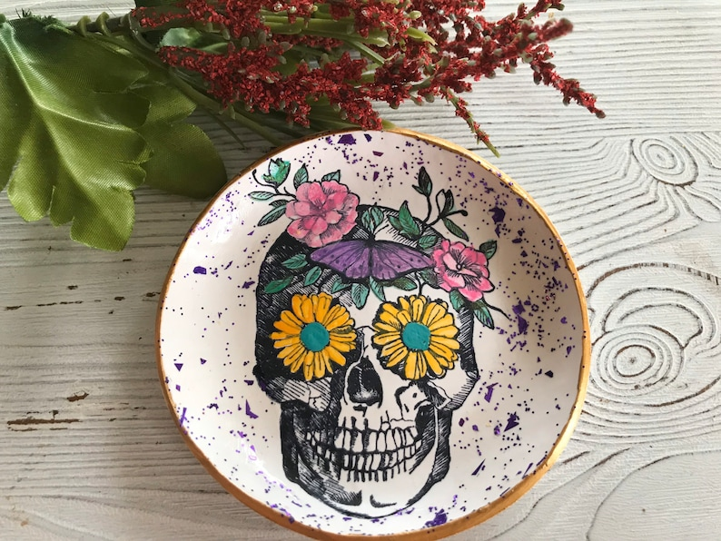 Sugar Skull Ring Dish Day Of The Dead Ring Dish Day Of The image 0