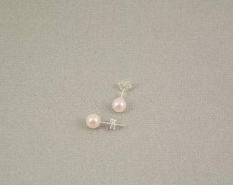 AAAA Freshwater Pearl Stud Earrings, Round AAAA 5 mm or 6 mm Pearls, Wedding Pearls, Bridesmaid's Gift