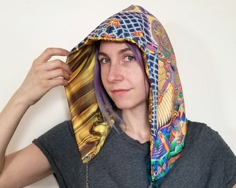 Festival Hood - Reversible with Chain - Official Chris Dyer - Neo Human Evolution - Liquid Gold