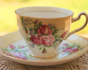 CLARE Bone China Teacup and Saucer Set