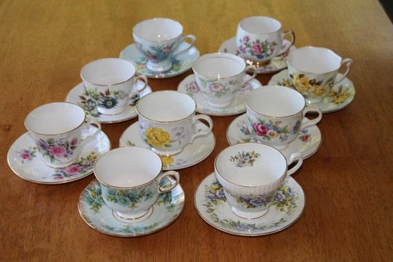 10 Teacup Sets Tea Party Wedding Bulk Teacup Sets Etsy