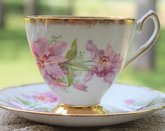 CLARE Bone China Teacup and Saucer Set.