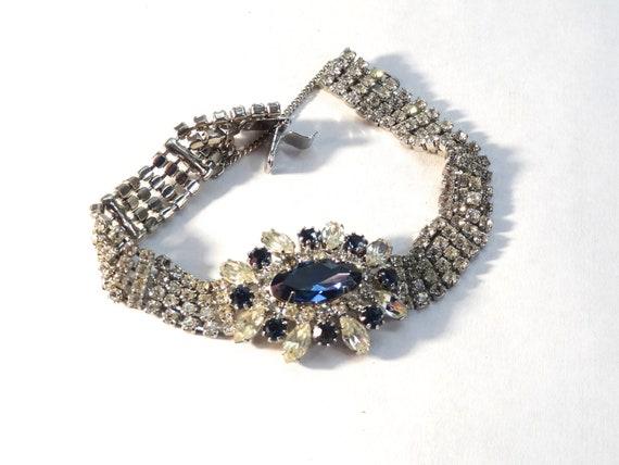 slinky bracelet Art deco bracelet clasp has stone paste rhinestones sparkly bracelet