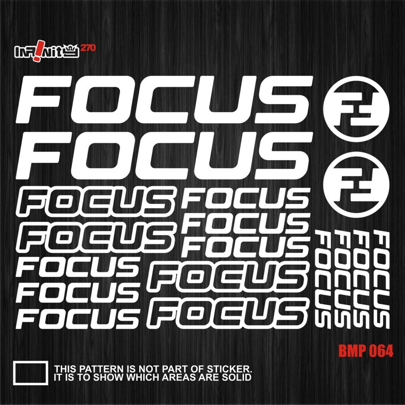 Focus Mountain Bicycle Frame Decals Stickers Graphic Adhesive Set Vinyl Black