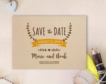 save the date cards printed on kraft cardstock wreath save the date invitations wedding save the dates simple