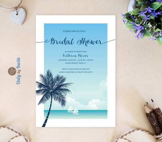 Tropical beach bridal shower invitations wedding shower etsy image 0 filmwisefo