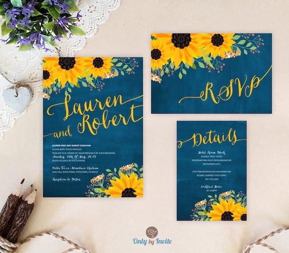 Invitation Packages Wedding: Sunflower Wedding Invitation Packages: Invites RSVP