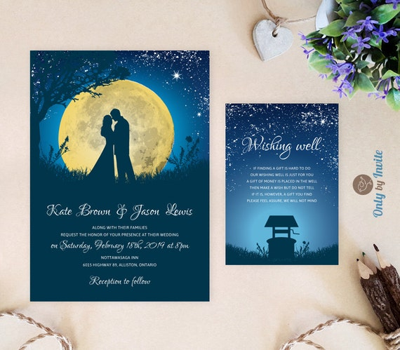 Starry Night Wedding Invitations And Wishing Well Card Etsy
