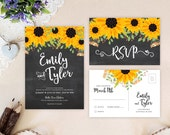 Chalkboard wedding invita...
