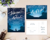 Starry night wedding invi...