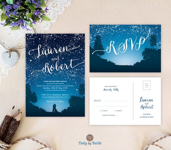 Starry Night Wedding Invitations And Rsvp Cards Mountain Etsy