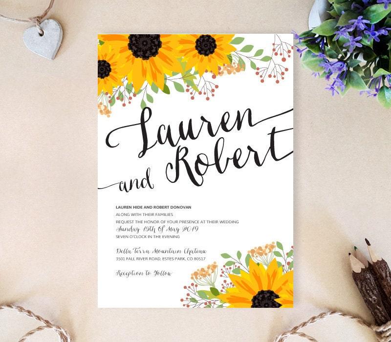 Fall Wedding Invitations Cheap Sunflower Wedding Invites