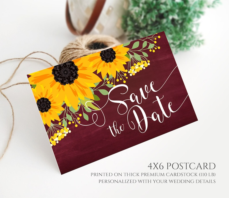 Rustic country southern barn farm chalkboard wedding save the date cards PRINTED Marsala burgundy save the date postcard sunflower