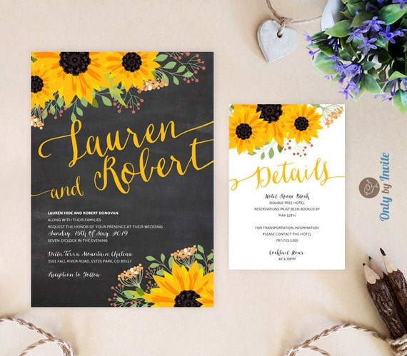 Rustic sunflower wedding invitation and reception card pack | Etsy