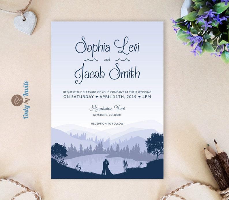 mountain wedding invitation set lake wedding invitations