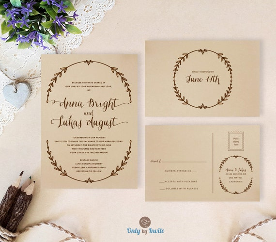 Cheap Wedding Invitation Kits: Wreath Wedding Invitation Kits Printed On Brown Paper