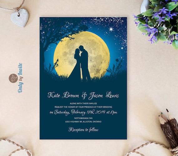 Starry Wedding Invitations Printed Moon Night Wedding Etsy