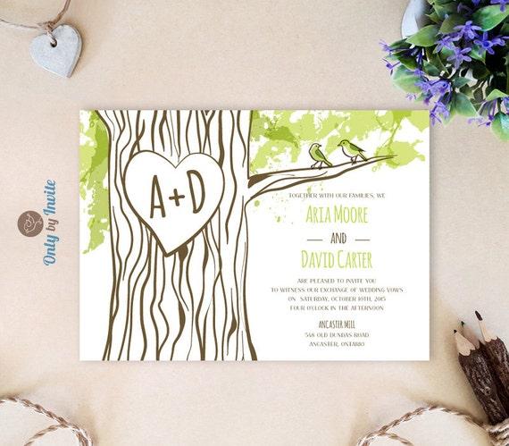 Cheap Printed Wedding Invitations: Tree Themed Wedding Invitations Cheap Woodland Wedding