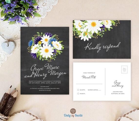 Printed Chalkboard Wedding Invitation Sets Daisy Wedding Etsy