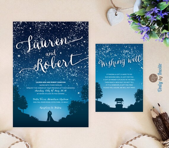 Starry Night Wedding Invitation And Wishing Well Card Under Etsy