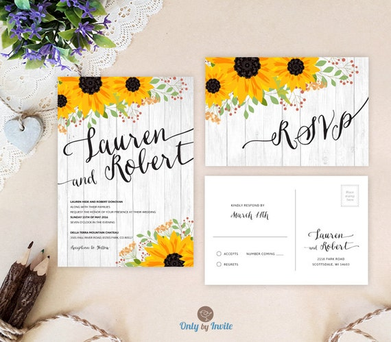Shabby chic sunflower wedding invitations sets Rustic woodsy invites Pretty Design with flat invitations and RSVP cards