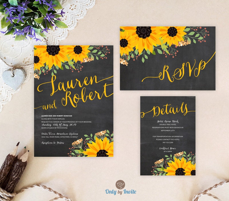 Cheap Rustic Wedding Invitations: Chalkboard Sunflower Wedding Set: Invitation RSVP Postcard