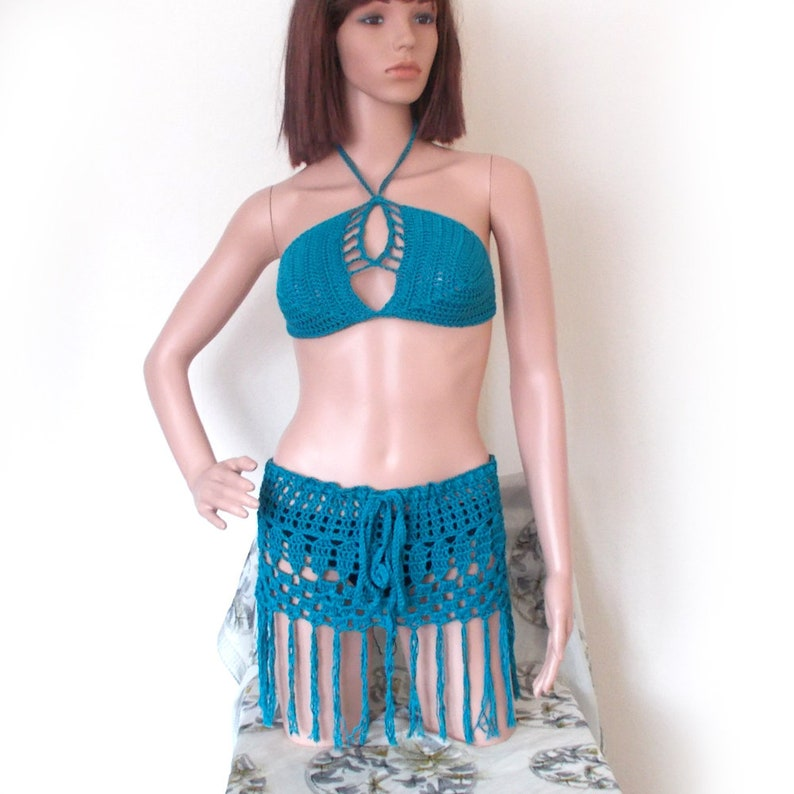 06c89adb97cd9 Crochet Fringe Bikini Top and Skirt Set Turquoise Festival