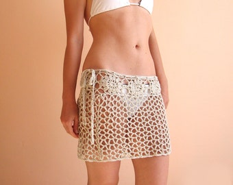 Lace Crochet Beach Mini Skirt , Flower Crochet Pareo , Beach Bikini Cover , Swimsuit Cover up , Lace Beach Sarong