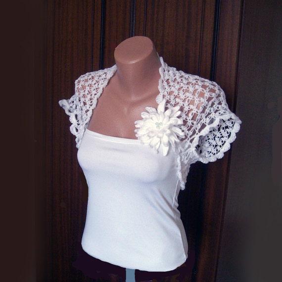 Items Similar To Wedding White Shrug Bolero ,Crochet Lace