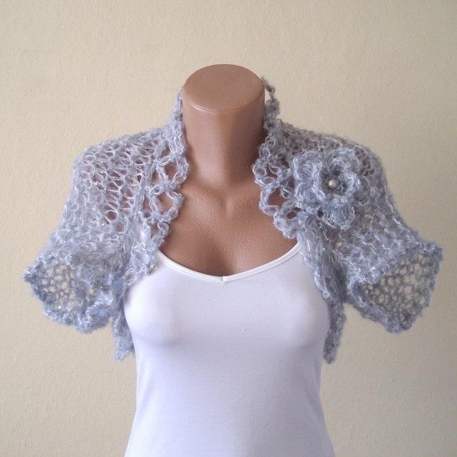 Grey Bolero Jacket Wedding Bolero Knitted Shrug Bridal Etsy