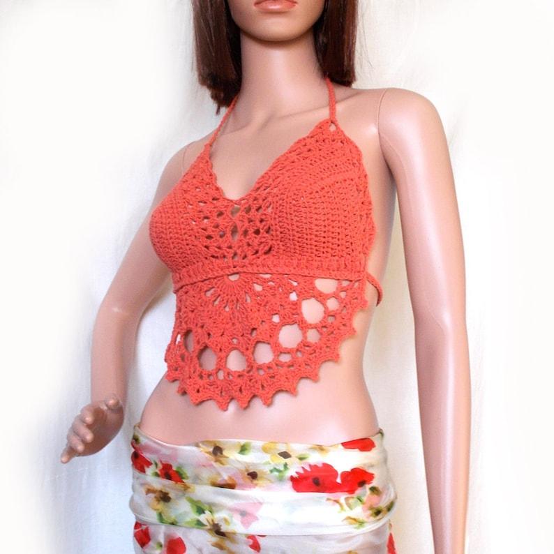 94694ef7c0d01 Festival halter top - Coral top - Crochet crop top - Halter neck top -  Backless top - Lace crop ...