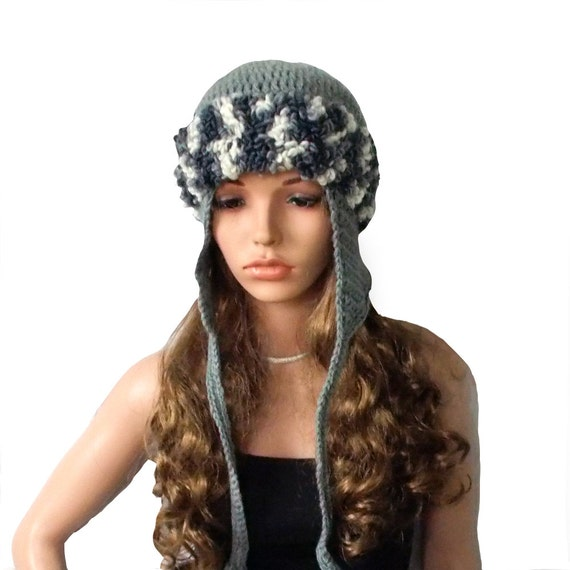 Häkeln Sie Ohrklappe Hut Mütze Mit Ohrenklappen Multicolor Etsy