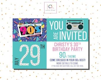 90s Theme Invitation Etsy