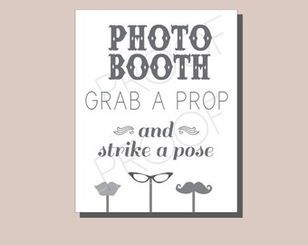 8 x 10 Instant Download Photo Booth-Gray Vintage Rustic- DIY, Wedding reception, Mustache Chalkboard Sign, Vintage Photobooth Sign, Vintage