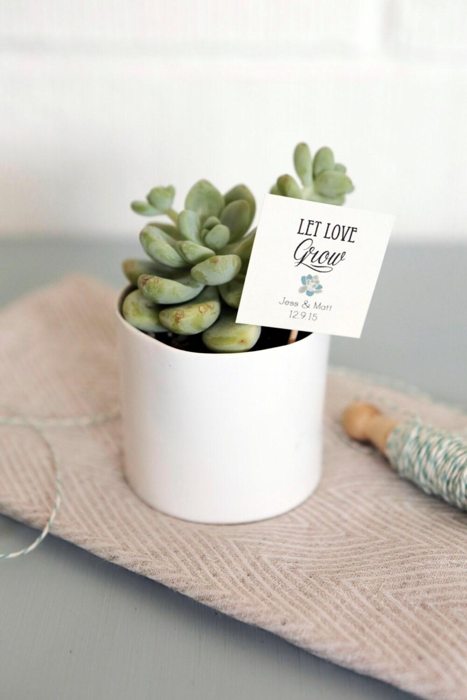 Set of 25 Let Love Grow Succulent Favor Tags, Wedding Favor tags ...
