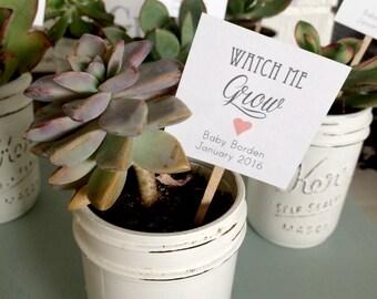 Set of 25- Watch Me Grow Succulent Favor Tags, Wedding Favor tags