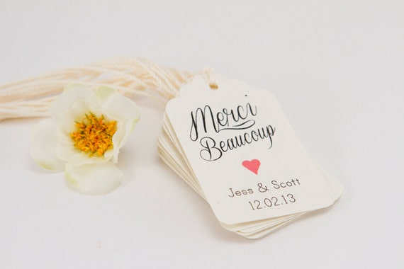 25- Merci thank you tag, French Wedding Thank you Tag, Customizable Thanks  Tag, Cottage Rustic Chic Thank you Tag, Shower Tag, Favor Label