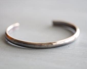 71a1bcae2be MENS Sterling Silver Cuff Bracelet, Unisex, Domed, Modern, Minimalist,  Thick, 6.5mm wide, Heavy Gauge, by Mossy Creek