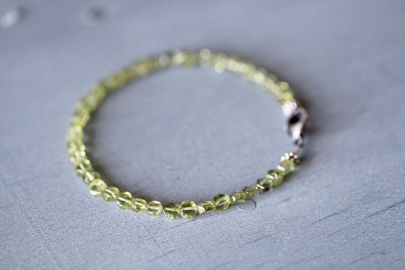 Layering Bracelet Green Birthstone Beaded Bracelet Gemstone Bracelet, Peridot  Bracelet by Mossy Creek