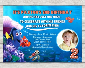 Finding Nemo Birthday Invitation Party