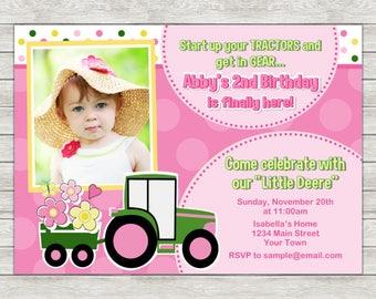 Tractor Girl Birthday Invitation Pink