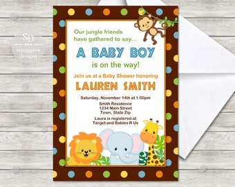 Fisher price safari baby shower etsy jungle safari baby shower invitation boy digital file printing services also available filmwisefo