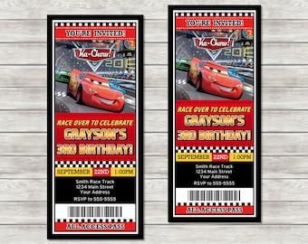 Disney Cars Ticket Birthday Invitations Lightning McQueen Printed Or Digital Printable File