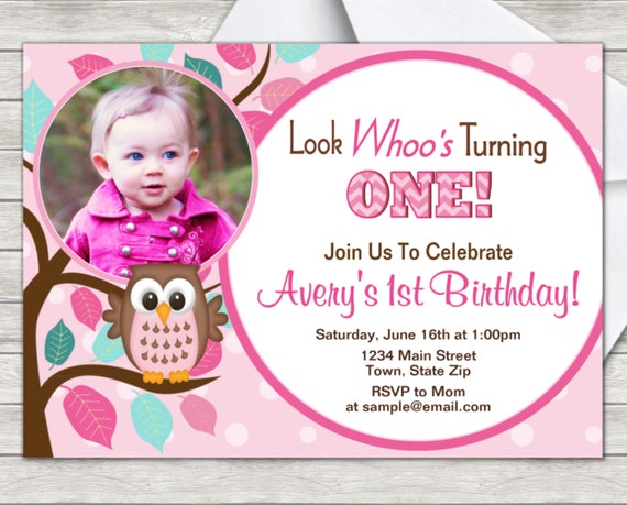 Owl 1st Birthday Invitation Look Whoo Turning One Digital Etsy