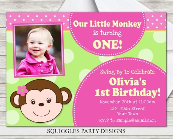 Monkey girl birthday invitation pink monkey birthday etsy image 0 filmwisefo